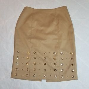 WHBM tan grommet skirt